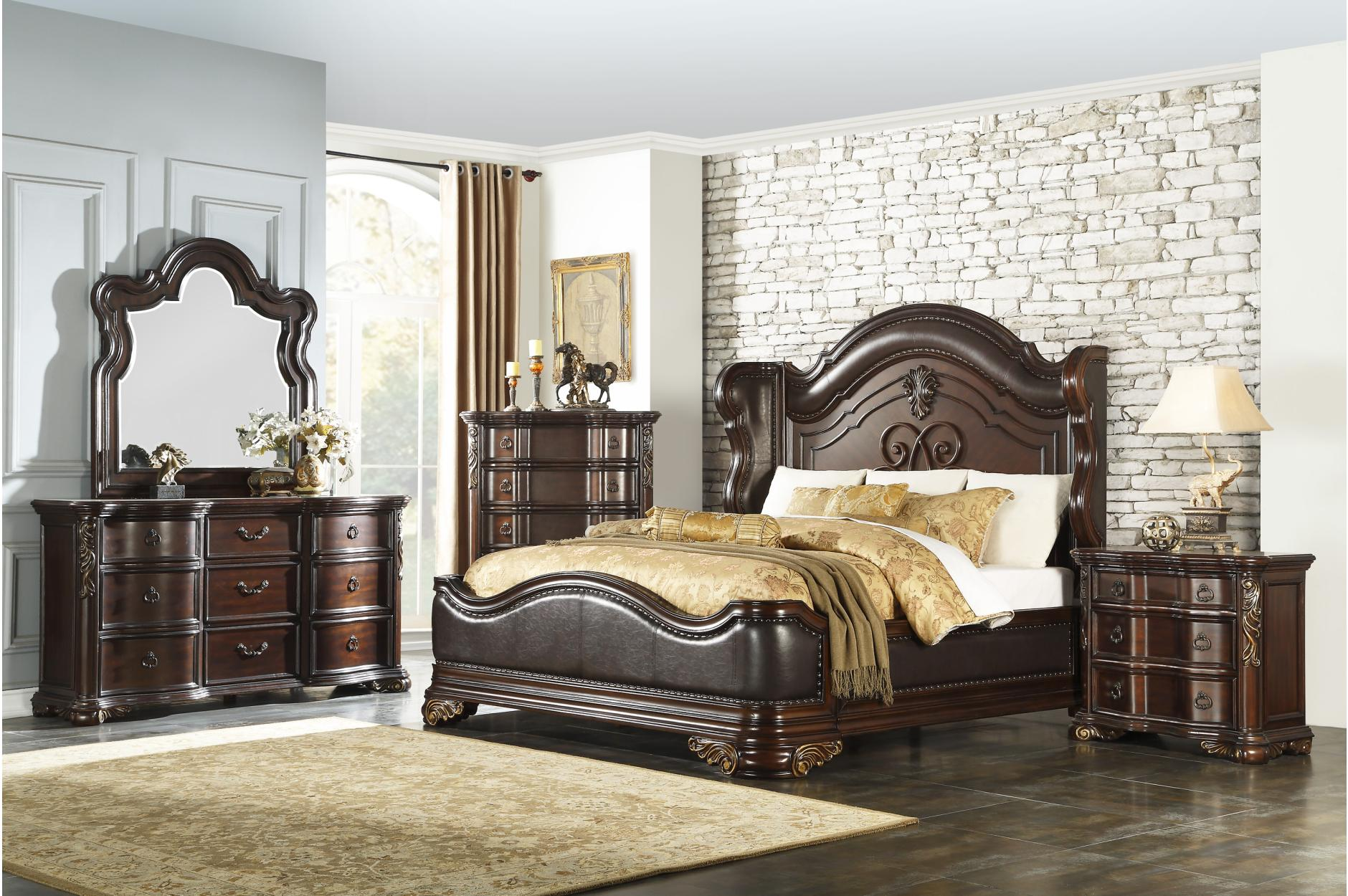 4PC Bedroom Set (Queen Bed, Dresser, Mirror, NS)