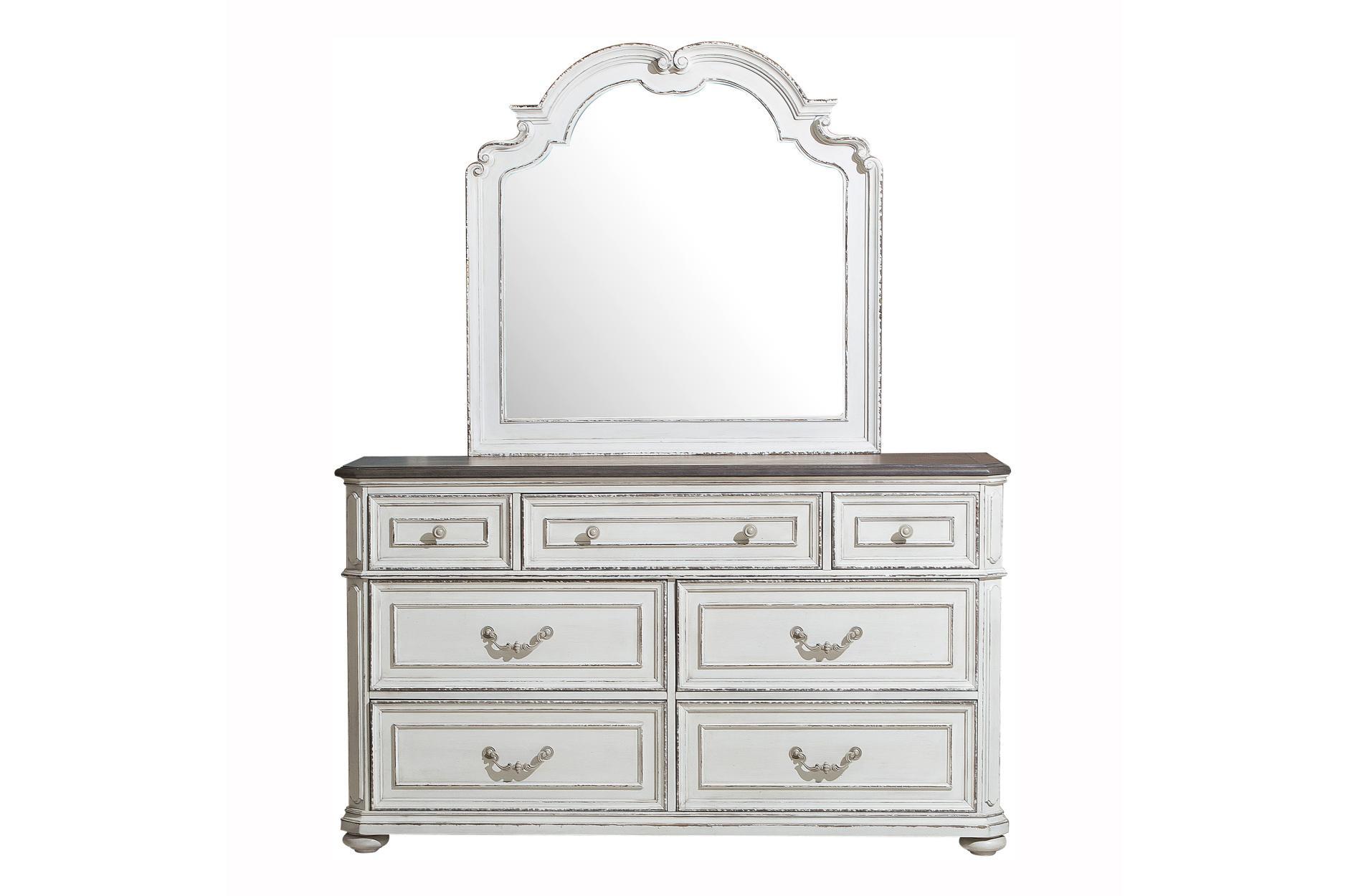 4PC Bedroom Set (Queen Sleigh Bed, Dresser, Mirror, NS)